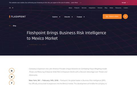 Screenshot of Press Page flashpoint-intel.com - Flashpoint - Flashpoint Brings Business Risk Intelligence to Mexico Market - captured Nov. 12, 2019