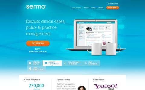 Screenshot of Home Page sermo.com - The Largest Online Community, Exclusive to Physicians - Sermo - captured July 11, 2014