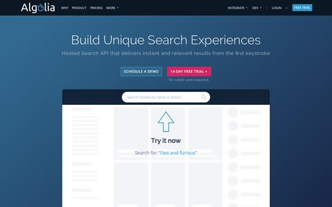 Screenshot of Home Page algolia.com - Algolia | Hosted cloud search as a service | AlgoliaSearch - captured Sept. 3, 2015
