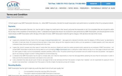 Screenshot of Terms Page gmrtranscription.com - GMR Transcription Terms and Conditions - captured Jan. 24, 2016