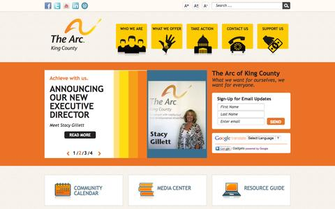 Screenshot of Home Page arcofkingcounty.org - Home - captured Oct. 11, 2015