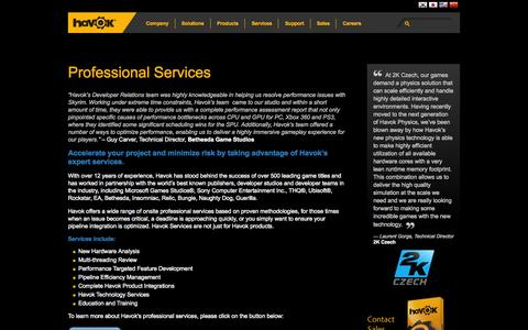 Screenshot of Services Page havok.com - Professional Services | Havok - captured Sept. 19, 2014