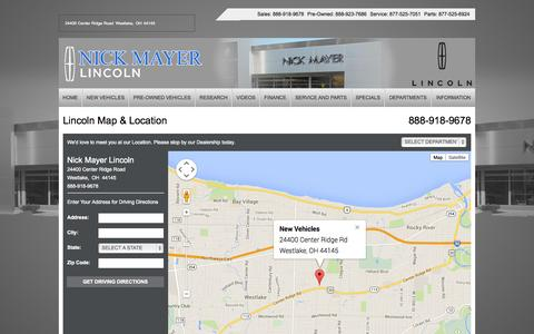 Screenshot of Maps & Directions Page nickmayer.com - Cleveland-Akron-Lorain Lincoln Dealer | Map, Address, Location, Directions | Nick Mayer Lincoln - captured Nov. 3, 2014