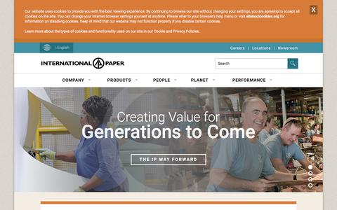 Screenshot of Home Page internationalpaper.com - International Paper |  Packaging, Pulp & Paper - captured Nov. 19, 2019
