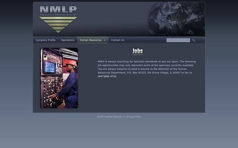 Screenshot of Jobs Page nmlp.com - National Material L.P. - captured Oct. 27, 2014
