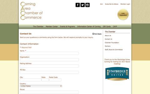 Screenshot of Contact Page corningny.com - Contact Us - Corning Area Chamber of Commerce, NY - captured Nov. 12, 2016