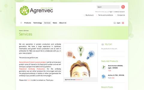 Screenshot of Services Page agrenvec.com - Services   Agrenvec - captured Sept. 30, 2014