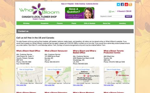 Screenshot of Contact Page whatabloom.com - Contact Us | What A Bloom | Toll Free US and Canada: 1-888-339-9666 - captured Oct. 26, 2014