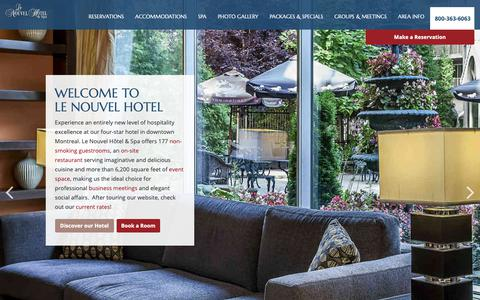 Screenshot of Home Page lenouvelhotel.com - Le Nouvel Hotel and Spa | Downtown Montreal Hotels - captured Sept. 27, 2018