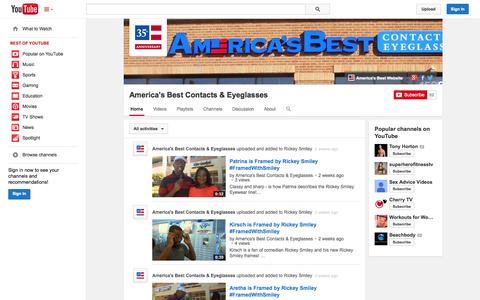 Screenshot of YouTube Page youtube.com - America's Best Contacts & Eyeglasses  - YouTube - captured Oct. 30, 2014