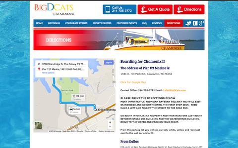 Screenshot of Maps & Directions Page bigdcats.com - Directions to Lake Lewisville Party Boat Big D Cats - captured Oct. 2, 2014