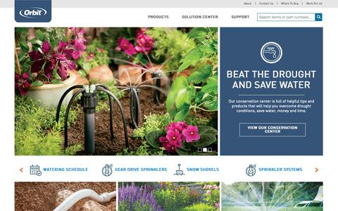 Screenshot of Home Page orbitonline.com - Orbit Irrigation - captured Oct. 1, 2015
