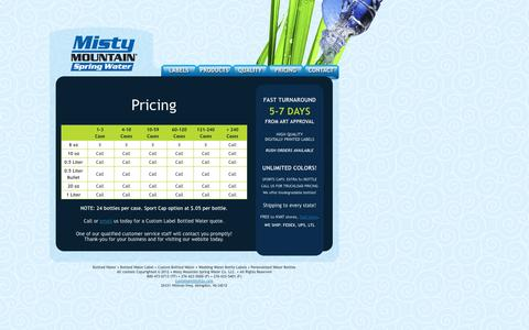 Screenshot of Pricing Page mistyh2o.com - Misty Mountain Spring Water - captured Oct. 6, 2014