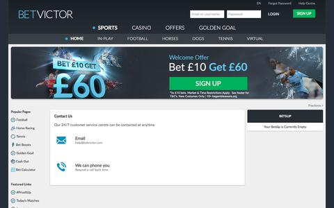Screenshot of Contact Page betvictor.com - Contact Us - BetVictor - BetVictor - captured Nov. 20, 2017