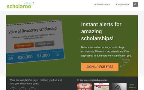 Screenshot of Home Page scholaroo.com - Homepage - Scholaroo - captured Dec. 4, 2015