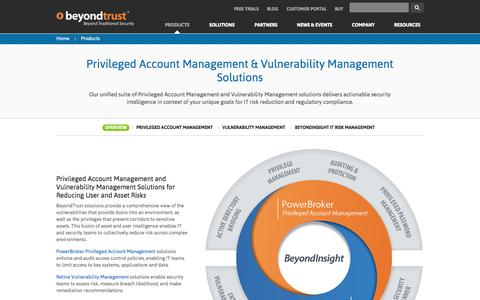Screenshot of Products Page beyondtrust.com - Privileged Account Management and Vulnerability Management Products - captured Sept. 15, 2014