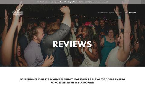 Screenshot of Testimonials Page forerunnerentertainment.com - Reviews — Forerunner Entertainment Mobile DJ  Dallas/Fort Worth - captured June 6, 2017