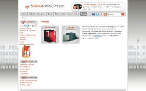 Screenshot of Pricing Page vocalbooth.com - VocalBooth Pricing - captured Oct. 26, 2014