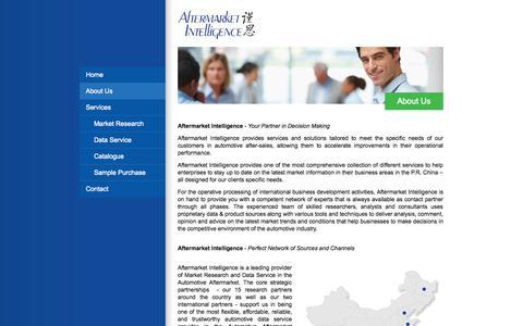 Screenshot of About Page afmkt.com - About Us - Aftermarket Intelligence - captured Oct. 4, 2014
