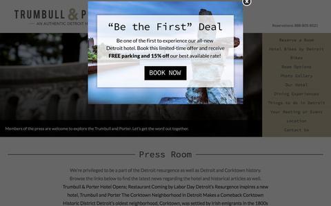 Screenshot of Press Page trumbullandporterhotel.com - Trumbull and Porter Hotel   Press Contact   Let's create - captured June 23, 2016