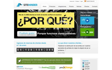 Screenshot of Home Page siteminder.es - Channel Manager & Hotel Booking Software   SiteMinder - captured Sept. 24, 2014