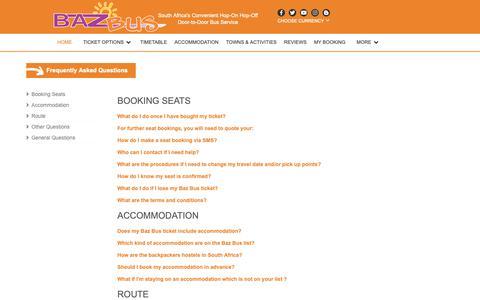 Screenshot of FAQ Page bazbus.com - Baz Bus - FAQ - captured Oct. 5, 2018