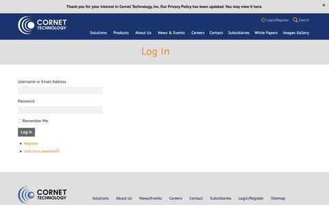 Screenshot of Login Page cornet.com - Log In - Cornet - captured Sept. 29, 2018