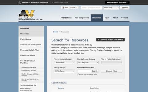 Screenshot of Case Studies Page acornvac.com - Plumbing Resources   Literature, Submittals, Presentations - Acorn Vac - captured Oct. 4, 2014