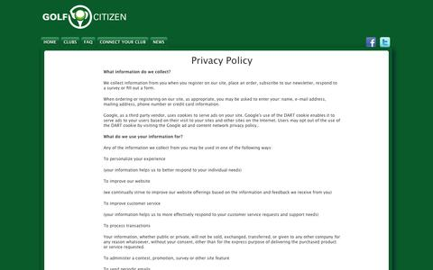 Screenshot of Privacy Page golfcitizen.com - Privacy Policy | GOLF CITIZEN - captured Sept. 27, 2014