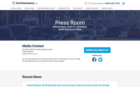 Screenshot of Press Page carinsurance.com - Tools for Journalists | CarInsurance.com - captured March 21, 2019