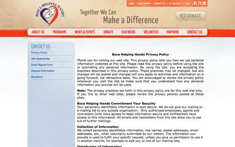 Screenshot of Privacy Page bocahelpinghands.org - Privacy Policy | Boca Helping Hands - captured Oct. 5, 2014