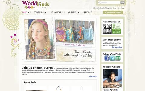 Screenshot of Home Page worldfinds.com - WorldFinds - Handmade. Fair Trade. With Style. - captured Oct. 1, 2014