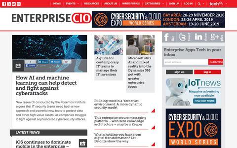 Screenshot of Home Page enterprise-cio.com - Enterprise CIO News - Digital Transformation, Enterprise Mobility - Enterprise Apps Tech News - captured Sept. 23, 2018