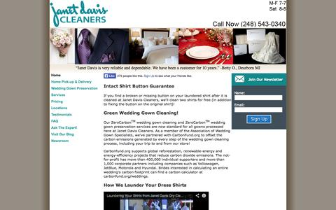 Screenshot of Home Page janetdaviscleaners.com - Dry Cleaners in Bloomfield, Berkley and Metro Detroit - captured Oct. 6, 2014