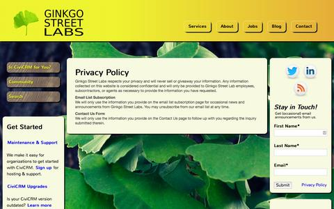 Screenshot of Privacy Page ginkgostreet.com - Privacy Policy | Ginkgo Street Labs - captured Jan. 29, 2016
