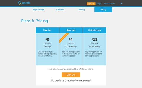 Screenshot of Pricing Page keycafe.com - Keycafe: Secure Key Exchange - captured Sept. 30, 2014