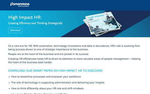 Screenshot of Landing Page cornerstoneondemand.com - High Impact HR: - captured Oct. 29, 2017