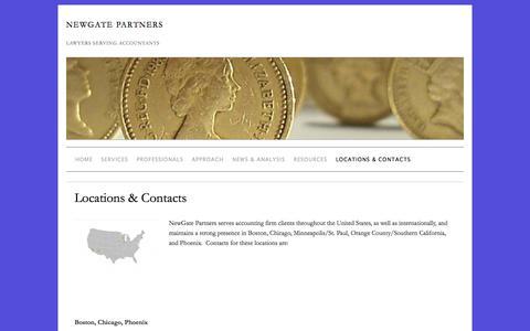 Screenshot of Locations Page newgatepartners.com - Locations & Contacts » NewGate Partners - captured Oct. 1, 2014