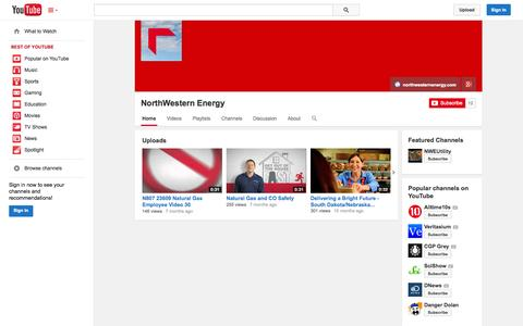 Screenshot of YouTube Page youtube.com - NorthWestern Energy  - YouTube - captured Oct. 26, 2014