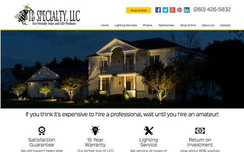 Screenshot of Home Page 1bspecialty.com - Home | 1B Specialty Solar and LED Lighting Fort Wayne - captured Oct. 1, 2015