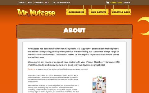 Screenshot of About Page mrnutcase.com - Personalised mobile phone and tablet cases | Mr Nutcase - captured Nov. 2, 2014