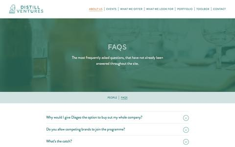 Screenshot of FAQ Page distillventures.com - FAQs About Distillery Investment | Distill Ventures - captured June 4, 2017