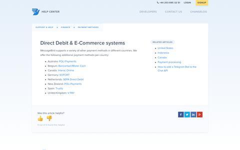 Screenshot of Support Page messagebird.com - Direct Debit & E-Commerce systems – Support & Help - captured Aug. 21, 2017