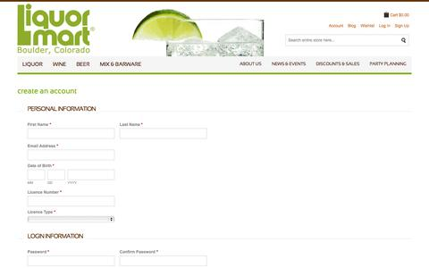 Screenshot of Signup Page liquormart.com - Create New Customer Account  | Liquor Mart Boulder CO - captured Sept. 23, 2014