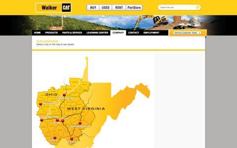 Screenshot of Locations Page walker-cat.com - Walker CAT - captured Oct. 2, 2014