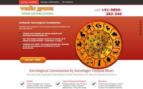 Screenshot of Services Page vedicgrace.com - Astrology Consultation - Vedicgrace Foundations - captured Nov. 3, 2014
