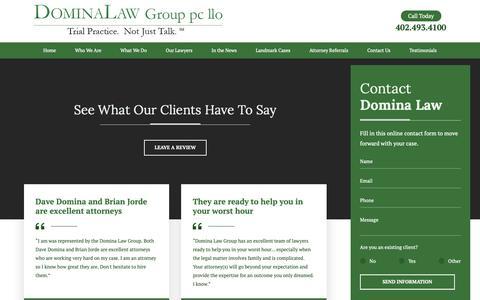 Screenshot of Testimonials Page dominalaw.com captured Dec. 19, 2018