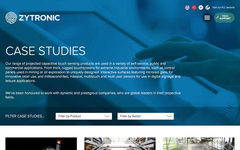 Screenshot of Case Studies Page zytronic.co.uk - Case Studies - Zytronic UK - captured Aug. 12, 2016
