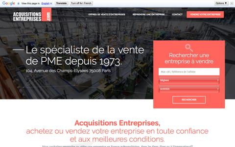Screenshot of Home Page acquisitions-entreprises.com - Vendre une entreprise avec Acquisitions Entreprises - captured June 21, 2016