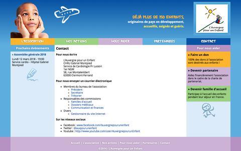 Screenshot of Contact Page lauvergnepourunenfant.org - Contact | L'Auvergne pour un Enfant - captured March 13, 2018